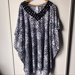 Gottex printed caftan v neck swimsuit cover up